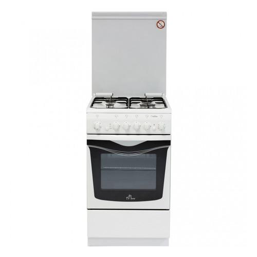 Газовая плита DE LUXE 506040.03г чр, газовая духовка, белый газовая плита de luxe 506040 05г газовая духовка белый