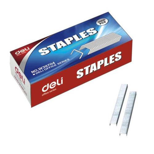 Упаковка скоб для степлера DELI E39704, 26/6, 5000шт, картонная коробка 20 шт./кор. скрепки deli e0050 никелированные 50мм упак 100шт картонная коробка 10 шт кор