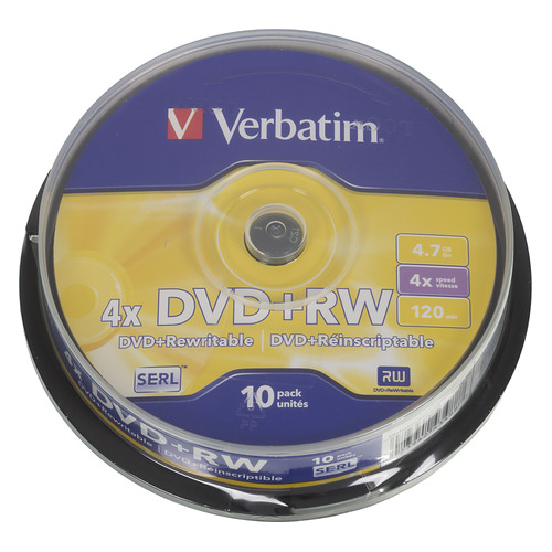 Фото - Оптический диск DVD+RW VERBATIM 4.7Гб 4x, 10шт., cake box [43488] dvd blu ray