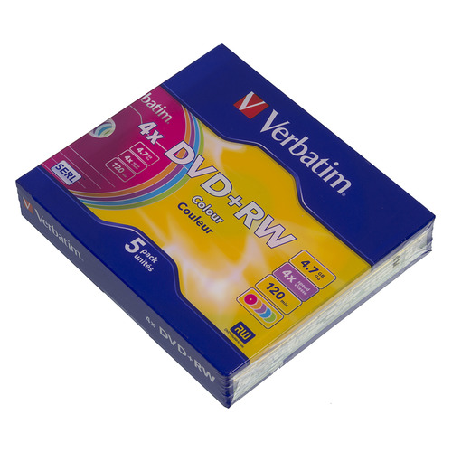 Фото - Оптический диск DVD+RW VERBATIM 4.7ГБ 4x, 5шт., slim case, разноцветные [43297] оптический диск cd rw verbatim 700мб 12x 20шт 43762 slim case