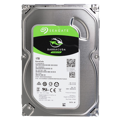 "Жесткий диск SEAGATE Barracuda ST1000DM010, 1Тб, HDD, SATA III, 3.5"" жесткий диск seagate barracuda st4000dm004 4тб hdd sata iii 3 5"