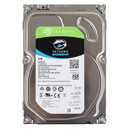 "Жесткий диск SEAGATE Skyhawk ST4000VX007, 4Тб, HDD, SATA III, 3.5"" жесткий диск seagate barracuda st4000dm004 4тб hdd sata iii 3 5"