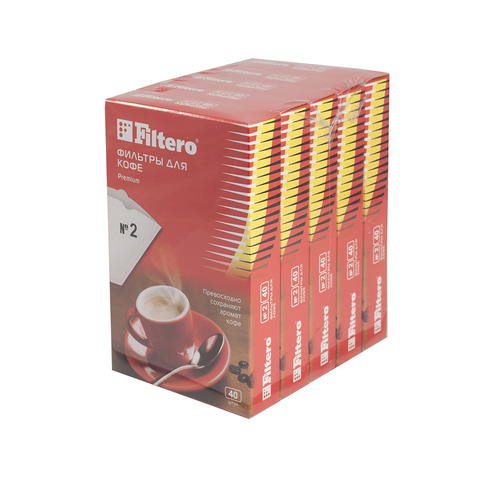 Фильтры для кофе FILTERO №2, для кофеварок, бумажные, 1x2, 200 шт, белый [2/200] фильтры для кофе для кофеварок капельного типа filtero 2 белый упак 40шт