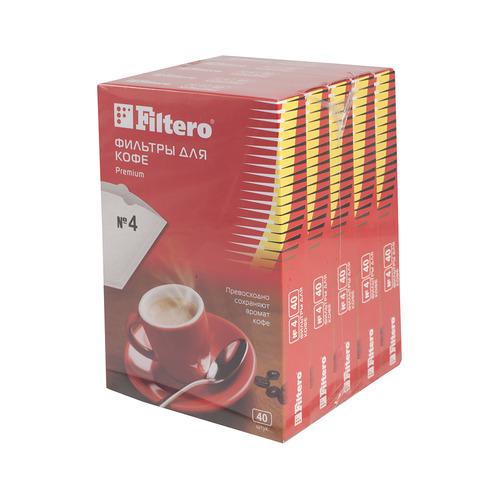 Фильтры для кофе FILTERO Premium №4, для кофеварок, бумажные, 1х4, 200 шт, белый [5/200] фильтры для кофе для кофеварок капельного типа filtero 2 белый упак 40шт