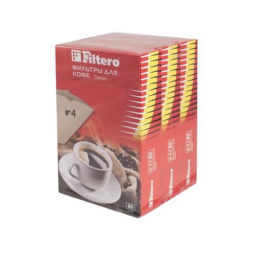 Фильтры для кофе FILTERO №4, для кофеварок, бумажные, 240 шт, коричневый [4/240] фильтры для кофе для кофеварок капельного типа filtero 2 белый упак 40шт