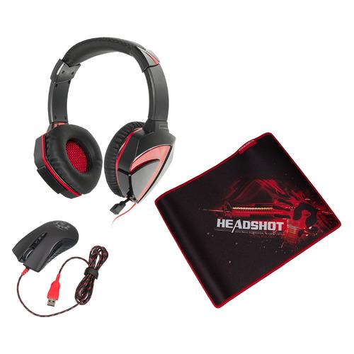 Гарнитура игровая A4 G500+A91+B-072, для компьютера, мониторы, черный / красный [a91g5pb72] коврик для мыши a4tech bloody b 072 черный