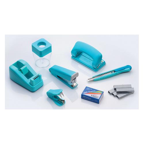 Настольный набор KW-TRIO 6341 Twist, Степлер 24/6, дырокол 20 листов, скобы 24/6, нож канцелярский, скрепочница, антистеплер, диспенсер для клейкой ленты, металл, 7 предметов, ассорти цена и фото