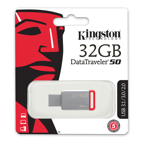 Флешка USB KINGSTON DataTraveler 50 32Гб, USB3.0, красный [dt50/32gb] флешка usb kingston datatraveler bolt duo 32гб usb3 1 серебристый [c usb3l sr32g en]