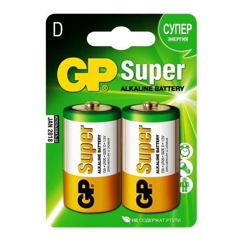 D Батарейка GP Super Alkaline 13A LR20, 2 шт. батарейки sonnen alkaline d lr20 алкалиновые 2 шт