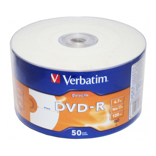 Фото - Оптический диск DVD-R VERBATIM 4.7Гб 16x, 50шт., bulk, printable [43793] диски dvd r 4 7gb 16x photo printable verbatim