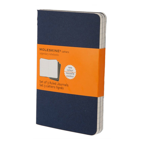 Блокнот Moleskine CAHIER JOURNAL POCKET 90x140мм обложка картон 64стр. линейка синий индиго (3шт) 9 шт./кор. desai luxury italy brand men s genuine leather classic dress shoes lace up business summer male derby shoes ds201608 11