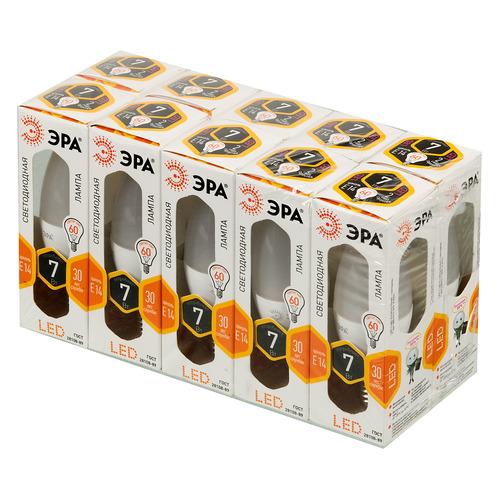 Лампа ЭРА B35-7w-827-E14, 7Вт, 600lm, 30000ч, 2700К, E14, 10 шт. [б0020486] цена и фото