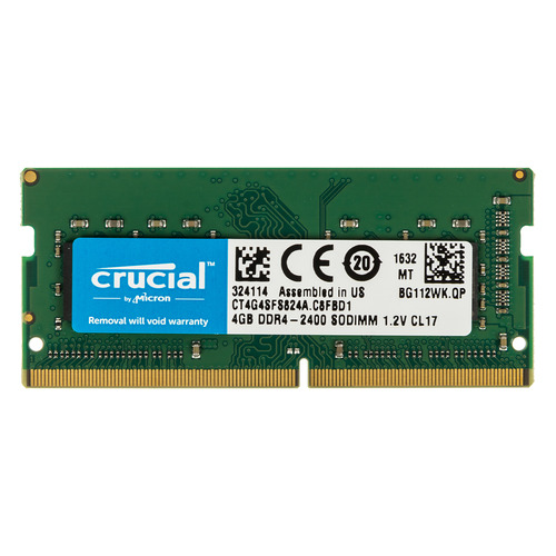 Модуль памяти CRUCIAL CT4G4SFS824A DDR4 - 4ГБ 2400, SO-DIMM, Ret so dimm ddr4 4гб crucial ct4g4sfs824a