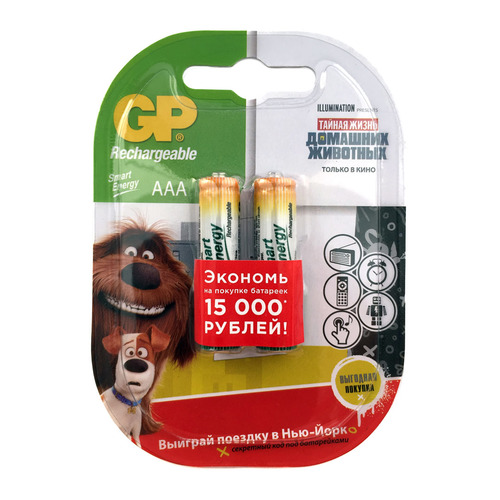 AAA Аккумулятор GP Smart Energy 40AAAHCSV, 2 шт. 400мAч аккумулятор gp smart energy 100aahcsv aa nimh 1000mah 2 шт