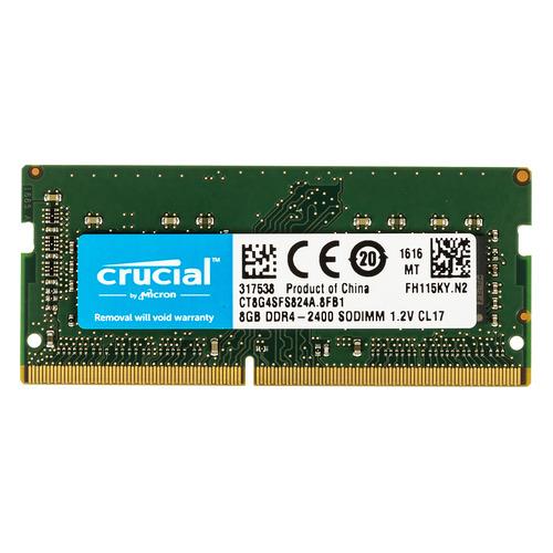 Модуль памяти CRUCIAL CT8G4SFS824A DDR4 - 8Гб 2400, SO-DIMM, Ret модуль памяти corsair value select cmv8gx4m1a2400c16 ddr4 8гб 2400 dimm ret
