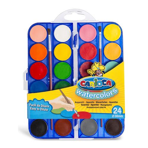 Фото - Упаковка красок акварельных CARIOCA 42401, 24 цвета, с кистью, пластиковая коробка 6 шт./кор. краски акварельные carioca 42401 24цв 30мм кисть пл кор 6 шт кор