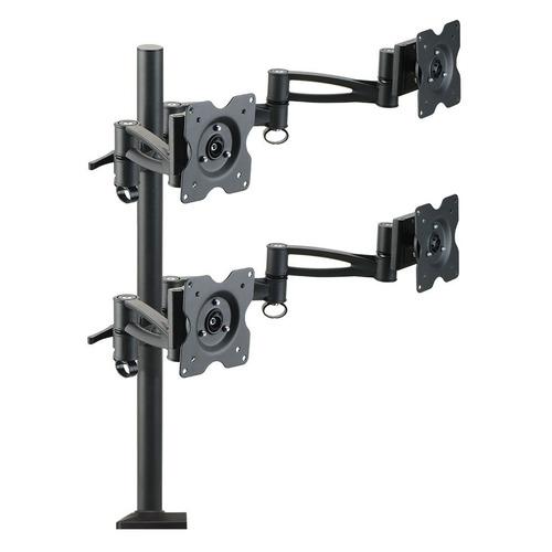 Фото - Кронштейн для мониторов ЖК Kromax OFFICE-4 черный 15-32 макс.8кг настольный поворот и наклон кронштейн для мониторов kromax office 2 grey
