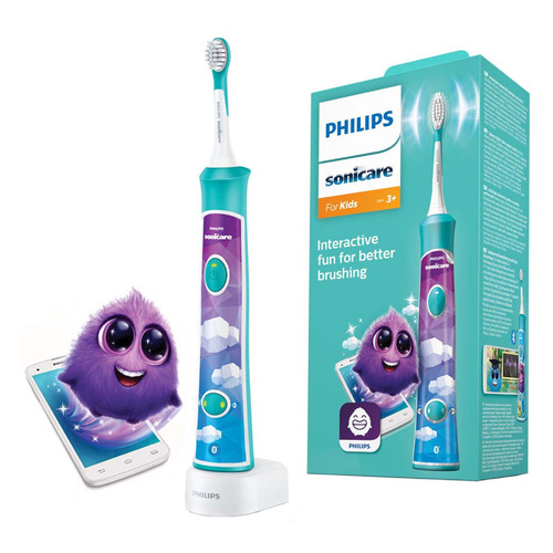 Электрическая зубная щетка PHILIPS Sonicare For Kids HX6322/04 белый new 4pcs hx6034 generic electric sonic replacement brush heads fits for philips sonicare toothbrush heads kids soft bristles