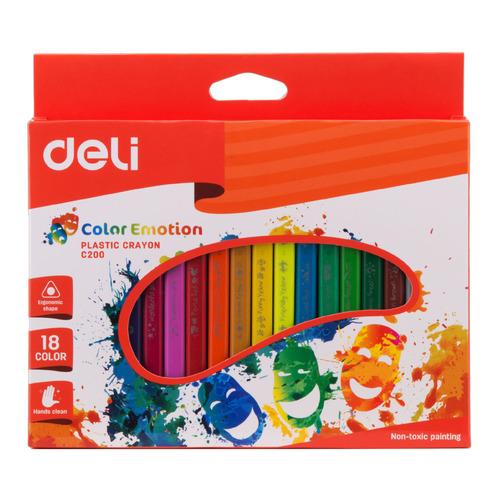 цена на Восковые мелки Deli EC20010 Color Emotion трехгранные 18цв. картон.кор./европод. 18 шт./кор.