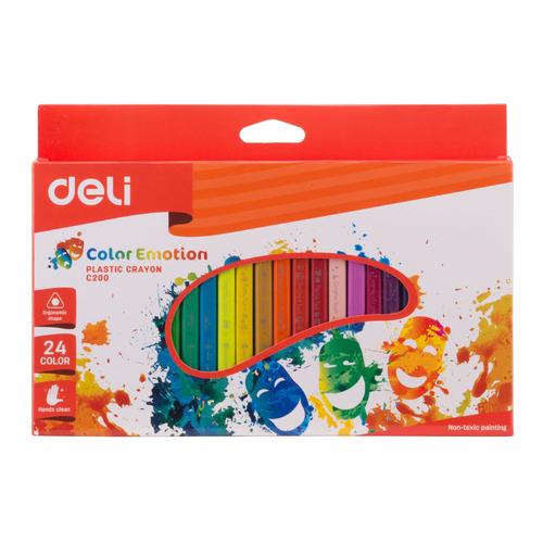 цена на Восковые мелки Deli EC20020 Color Emotion трехгранные 24цв. картон.кор./европод. 12 шт./кор.