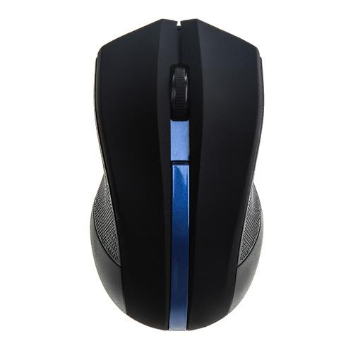 Мышь OKLICK 615MW, оптическая, беспроводная, USB, черный и синий [615mw bl] мышь беспроводная hp 200 silk золотистый чёрный usb 2hu83aa