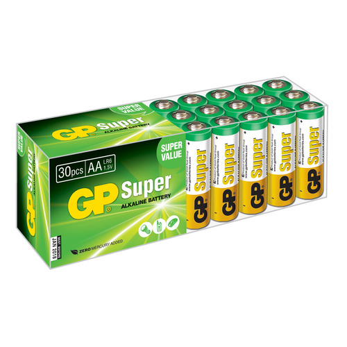 AA Батарейка GP Super Alkaline 15A LR6, 30 шт. aa батарейка gp super alkaline 15a lr6 2 шт