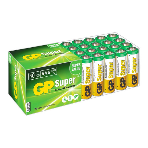 AAA Батарейка GP Super Alkaline 24A LR03, 40 шт. 20 pcs brand new aaa alkaline battery 1 5 v rechargeable aaa battery for remote control toy baterie light free shipping