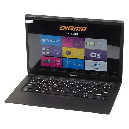 "купить Ноутбук DIGMA CITI E400, 14.1"", IPS, Intel Atom X5 Z8350 1.44ГГц, 4Гб, 32Гб SSD, Intel HD Graphics 400, Windows 10, ES4003EW, черный по цене 12390 рублей"