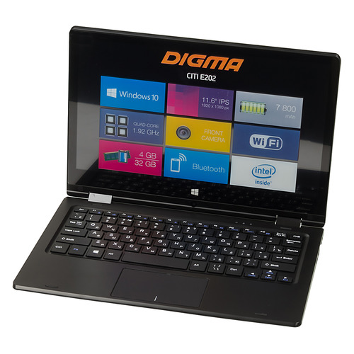 Ноутбук-трансформер DIGMA CITI E202, 11.6, IPS, Intel Atom X5 Z8350 1.44ГГц, 4Гб, 32Гб SSD, Intel HD Graphics 400, Windows 10 Home, ES2002EW, черный fanless windows 10 mini pc desktop mele pcg09 2gb 32gb intel bay trail atom z3735f sata hdd m 2 ssd hdmi vga lan wifi bluetooth