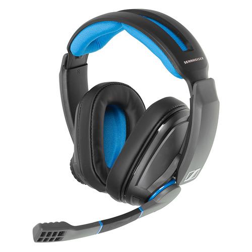 Гарнитура игровая SENNHEISER GSP 300, для компьютера и игровых консолей, накладные, черный / синий [507079] цена 2017