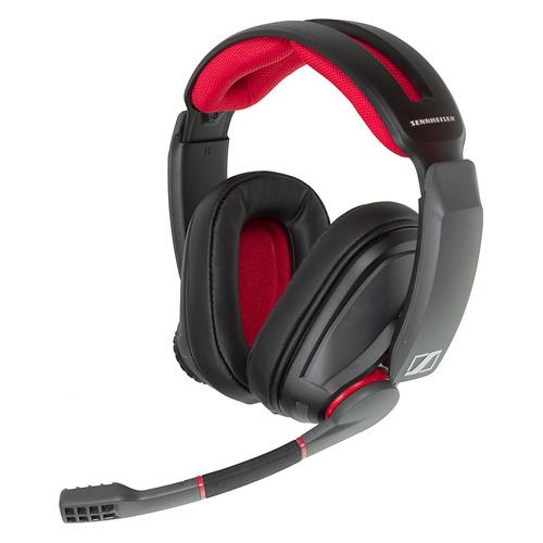 цена на Гарнитура игровая SENNHEISER GSP 350, для компьютера, накладные, черный / красный [507081]
