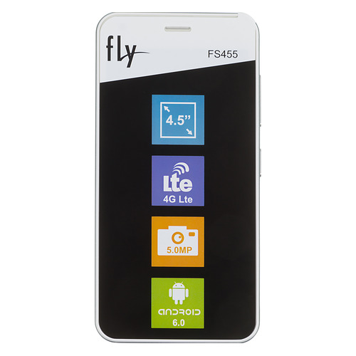 Смартфон FLY Nimbus 11 FS455, белый mobile phone lcds complete for fly fs501 nimbus 3 lcd touch digitizer assembly for fly fs 501 lcd screen display free tracking