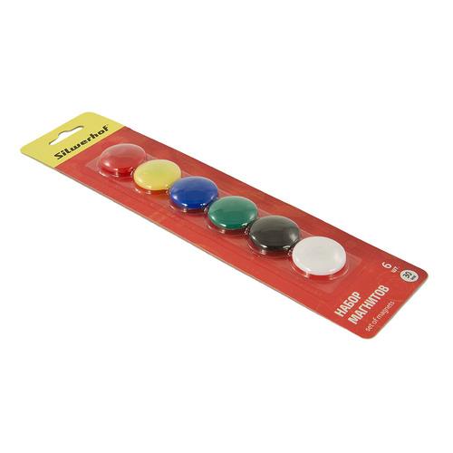 Фото - Магнит для досок Silwerhof CLASSIC 658003-01 пластик ассорти d=30мм (упак.:6шт) 10 шт./кор. фломастеры centropen colour world 6 цветов в блистере