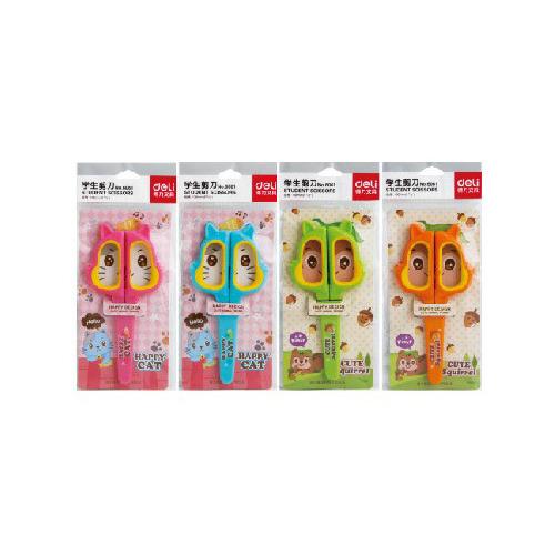 Фото - Упаковка ножниц DELI 6061 Happy Cat детские, 138мм, ТПЭ, сталь, ассорти 12 шт./кор. упаковка ножниц maped 463010 детские 24 шт кор
