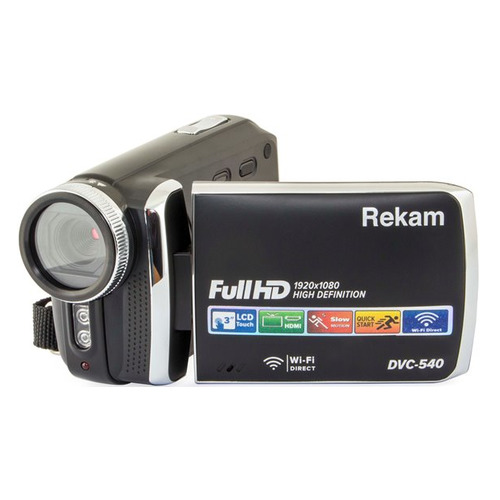 Видеокамера REKAM DVC-540, черный, Flash [2504000002] freeshipping professional video camera digital camcorder dvr hdv f5 3 0 touch display 1080p hd dis optional wide angle lens