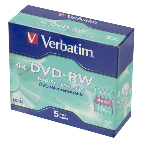 Фото - Оптический диск DVD-RW VERBATIM 4.7ГБ 4x, 5шт., jewel case [43285] dvd blu ray