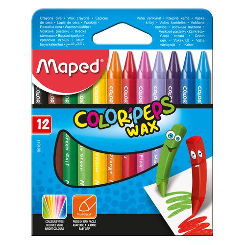 Упаковка мелков восковых MAPED Color`peps 861011, трехгранные, 12 цветов 12 шт./кор. упаковка мелков восковых deli colorun ec20820 ec20820 24 цвета 12 шт кор