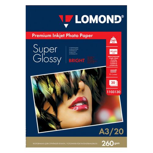 Фотобумага Lomond 1103130 A3/260г/м2/20л./белый высокоглянцевое для струйной печати
