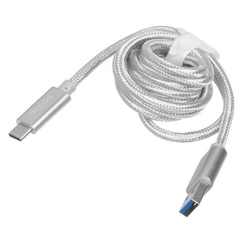 цена на Кабель DEPPA USB Type-C (m), USB 3.0 A(m), 1.2м, серебристый [72249]