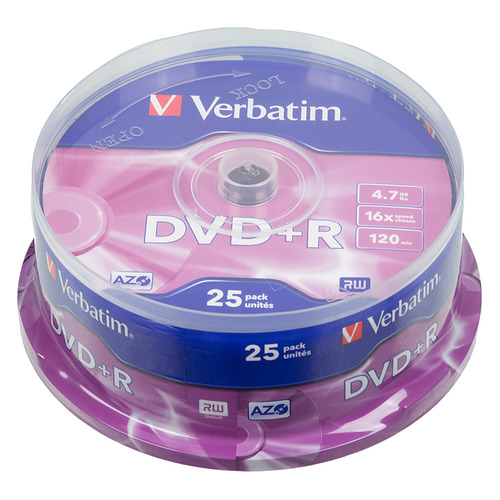 Фото - Оптический диск DVD+R VERBATIM 4.7Гб 16x, 25шт., cake box [43500] диски dvd r 4 7gb 16x photo printable verbatim