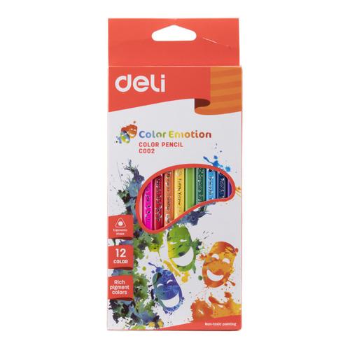 Фото - Упаковка карандашей цветных DELI EC00200 EC00200, трехгранные, липа, 12 цв., коробка европодвес, 12шт 24 шт./кор. упаковка карандашей цветных акварельных deli 6522 6522 липа 36 цв коробка металлическая