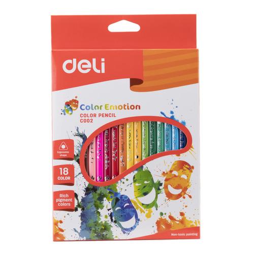 Фото - Упаковка карандашей цветных DELI Color Emotion EC00210, трехгранные, липа, 18 цв., коробка европодвес 24 шт./кор. упаковка карандашей цветных акварельных deli 6522 6522 липа 36 цв коробка металлическая