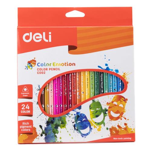 Фото - Упаковка карандашей цветных DELI Color Emotion EC00220, трехгранные, липа, 24 цв., коробка европодвес 12 шт./кор. упаковка карандашей цветных акварельных deli 6522 6522 липа 36 цв коробка металлическая