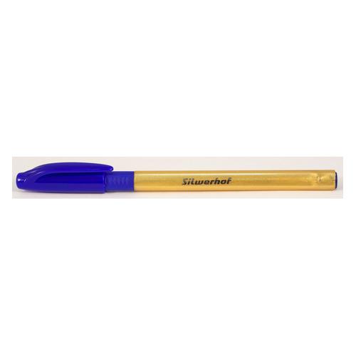 Ручка шариковая Silwerhof SLIDE GOLD (026154-02) однораз. 1.0мм треугол. резин. манжета шампань сини 12 шт./кор.
