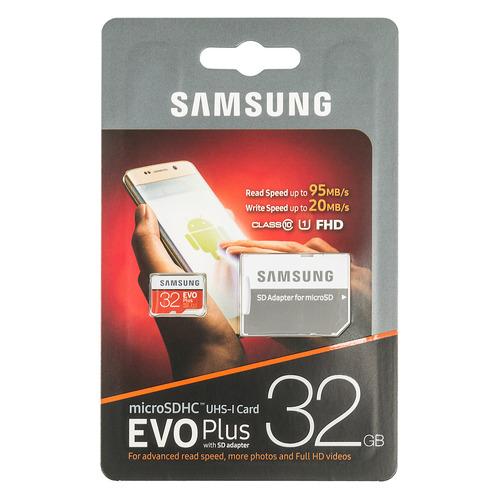 Фото - Карта памяти microSDHC UHS-I SAMSUNG EVO PLUS 32 ГБ, 95 МБ/с, Class 10, MB-MC32GA/RU, 1 шт., переходник SD samsung microsd evo plus 256gb mb mc256ha ru