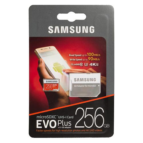 Фото - Карта памяти microSDXC UHS-I U3 SAMSUNG EVO PLUS 2 256 ГБ, 100 МБ/с, Class 10, MB-MC256GA/RU, 1 шт., переходник SD переходник