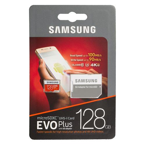 Фото - Карта памяти microSDXC UHS-I U3 SAMSUNG EVO PLUS 128 ГБ, 100 МБ/с, Class 10, MB-MC128GA/RU, 1 шт., переходник SD консервы 1 st choice kitten skin