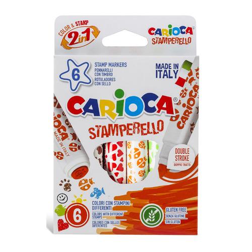 Фломастеры Carioca STAMPERELLO 42279 6цв. двусторонние со штампами коробка с европодвесом 12 шт./кор. фломастеры carioca bi color 42269 12цв двусторонние 6шт 24 шт кор