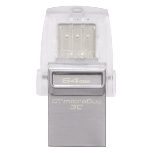 Флешка USB KINGSTON DataTraveler microDuo 64ГБ, USB3.0, серебристый [dtduo3c/64gb] флешка usb kingston datatraveler g4 64гб usb3 0 белый и фиолетовый [dtig4 64gb]