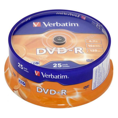 Фото - Оптический диск DVD-R VERBATIM 4.7Гб 16x, 25шт., cake box [43522] диски dvd r 4 7gb 16x photo printable verbatim